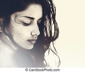 rosto, de, bonito, sensual, mulher jovem