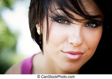 rosto, de, cute, mulher jovem