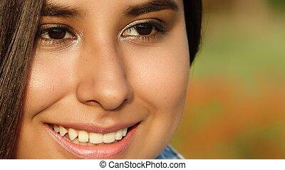 rosto, de, jovem, menina adolescente
