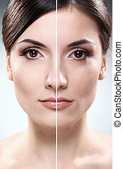 rosto, de, mulher, before.and.after, retouch