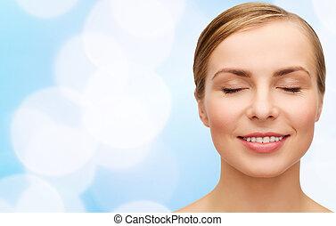 rosto, de, mulher bonita, com, olhos fechados