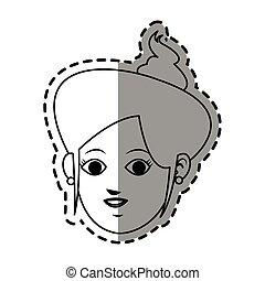 rosto, de, mulher jovem, ícone, imagem