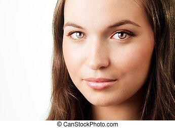 rosto, de, mulher jovem, com, bonito, olhos brilhantes