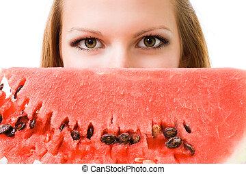 rosto, de, um, mulher, com, melancia