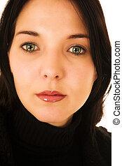 rosto, de, um, mulher, com, olhos verdes, e, lábios vermelhos