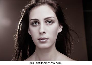 rosto, de, um, mulher