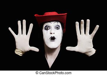 rosto, e, mãos, de, mimo, com, escuro, maquiagem, em, chapéu vermelho