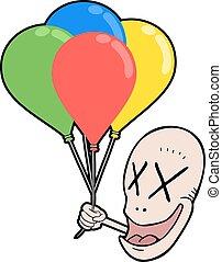 rosto engraçado, com, balões