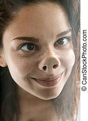 rosto engraçado, de, cute, tolo, femininas, adolescente