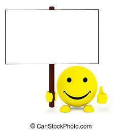 rosto feliz, bola, com, em branco, cartaz, em, mão