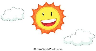 rosto feliz, ligado, a, sol