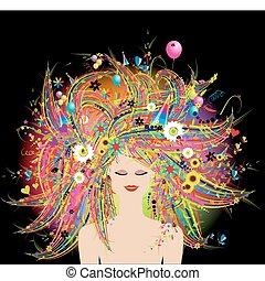 rosto, floral, penteado, mulher, festivo