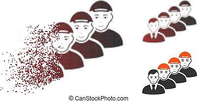 rosto, gerente, equipe, dispersed, halftone, pixel, ícone