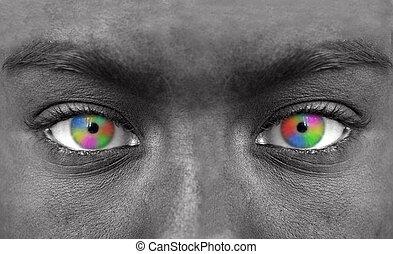 rosto humano, com, coloridos, olho, close-up extremo