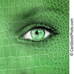 rosto humano, com, dragão, pele, textura