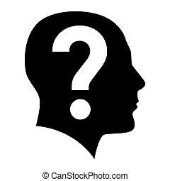 rosto humano, com, marca pergunta