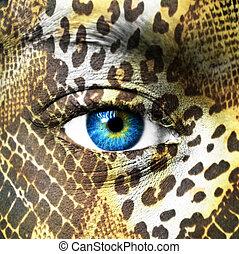 rosto humano, com, testes padrões animais