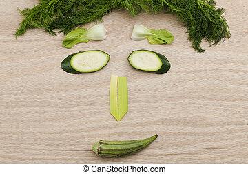 rosto humano, composto, de, vegetal, pedaços