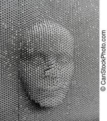 rosto humano, feito, de, tábua alfinete, brinquedo
