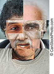 rosto humano, feito, de, vários, diferente, pessoas,...