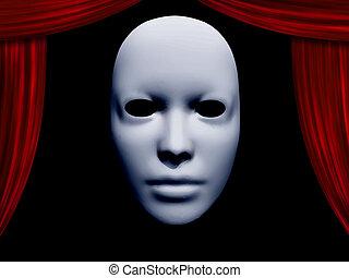 rosto humano, máscara, e, cortinas
