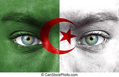 rosto humano, pintado, com, bandeira, de, argélia