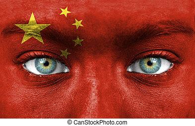rosto humano, pintado, com, bandeira, de, china