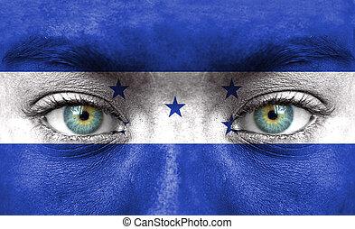 rosto humano, pintado, com, bandeira, de, honduras