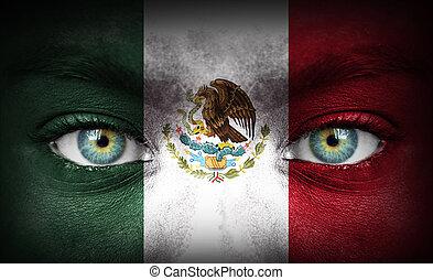 rosto humano, pintado, com, bandeira, de, méxico