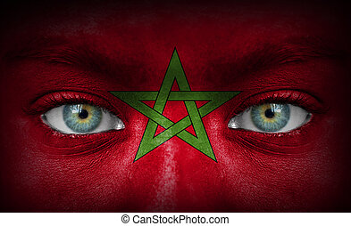 rosto humano, pintado, com, bandeira, de, marrocos