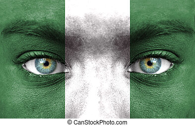 rosto humano, pintado, com, bandeira, de, nigéria