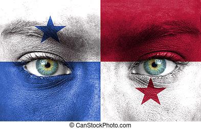 rosto humano, pintado, com, bandeira, de, panamá