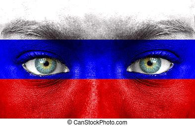 rosto humano, pintado, com, bandeira, de, rússia