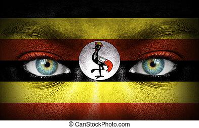 rosto humano, pintado, com, bandeira, de, uganda