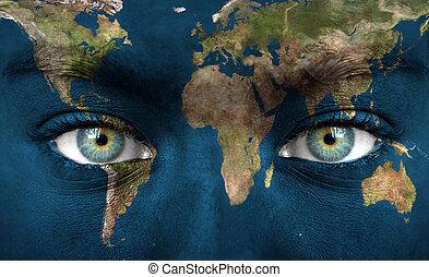 rosto humano, pintado, com, terra planeta