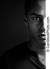 rosto meio, de, um, sensual, masculino, homem preto