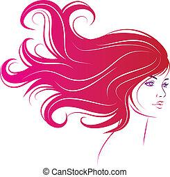 rosto mulher, com, longo, cabelo preto