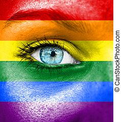rosto mulher, pintado, com, bandeira, de, orgulho