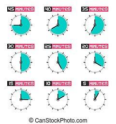 rosto relógio, com, diferente, tempo, vetorial, ilustração,...