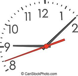 rosto relógio, com, vermelho, segunda mão