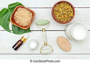 rosto, rolo, e, naturel, produtos beleza, ligado, madeira,...