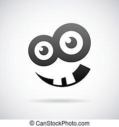 rosto, sorrindo, vetorial, ícone