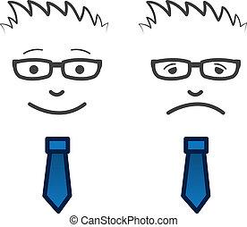 rosto, triste, negócio, feliz