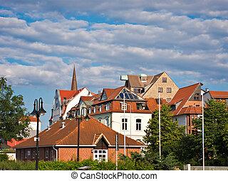 rostock., edifícios, histórico, vista