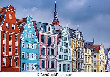 Rostock Germany - Historic Buildings in Rostock, Germany.
