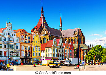 Rostock, Germany - Scenic summer view of the Markplatz Old...