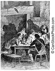 Rostof wrote a letter, vintage engraving. - Rostof wrote a ...