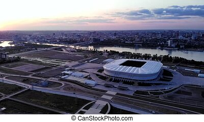 Rostov-on-Don, Russia - AUGUST 31, 2019: Aerial view of stadium Rostov Arena in the evening. City view