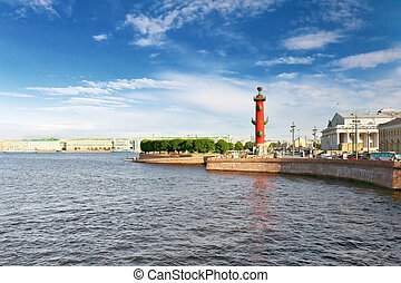 Rostral Column  in Saint Petersburg in Russia. Evening.