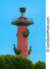Rostral column in St.Petersburg, Russia on blue sky...